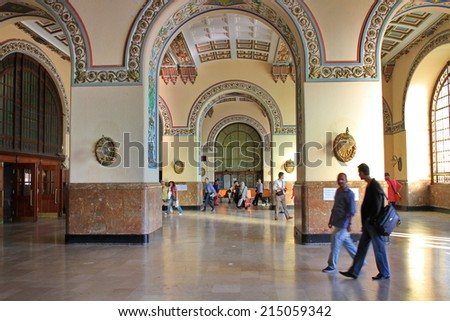 ISTANBUL - JUN 13, 2013: Haydarpasa Central Train Station. Today, railway station closed to allow for the construction of a high-speed rail line between Istanbul and Ankara. It still closed. - stock photo