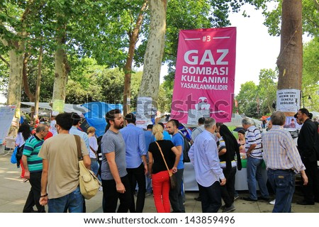 ISTANBUL - JUN 14: Protesters refuse to leave Gezipark despite assurances on June 14, 2013 in Istanbul, Turkey. Demonstrators defying an order to end almost two weeks of protest against Prime Minister