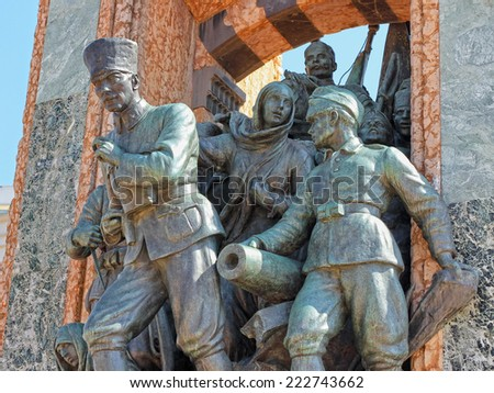 ISTANBUL - JUN 17, 2013: Republic Monument on Taksim Square is a major tourist attraction. Built to commemorate the formation of the Turkish Republic in 1923. - stock photo