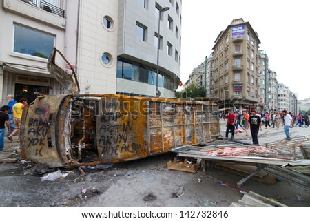 ISTANBUL - JUNE 15: Barricade around Taksim district during protests on June 15, 2013 in Istanbul, Turkey. Police evacuated Gezi Park by using disproportionate force and clashes until dawn. - stock photo