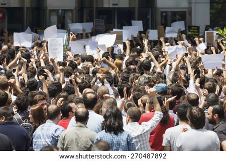 ISTANBUL - JUNE 03 2013 : Dogus power center protest. People protesting Dogus Media Group for false and misleading government sided news. - stock photo
