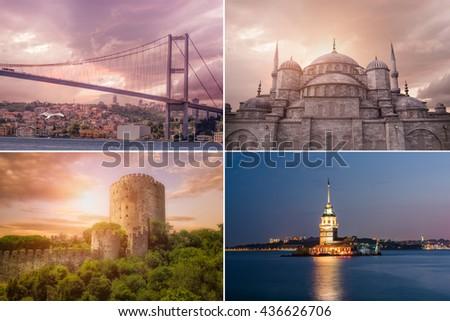 Istanbul Landmarks Collage,Turkey - stock photo