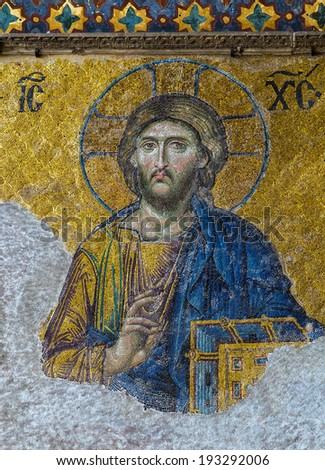 ISTANBUL - MAY 01, 2014: Christian mosaic icon of Jesus Christ in Cathedral mosque Hagia Sofia 01, 2014 in Istanbul, Turkey. Hagia Sophia is the greatest monument of Byzantine Culture. - stock photo