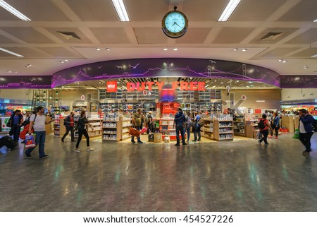 ISTANBUL - MAY 15: Duty Free shop at Istanbul Ataturk Airport on May 15, 2016. The airport is the main international airport of Turkey which is the main hub for Turkish Airlines. - stock photo