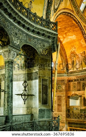 ISTANBUL - MAY 25, 2013: Inside the Hagia Sophia. Hagia Sophia is the greatest monument of Byzantine Culture. It was built in the 6th century.