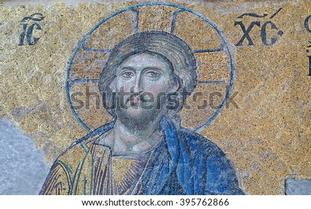 """ISTANBUL - MAY 3: Interior of the """"Aya (Hagya) Sophia"""" church and mosque on Mal 3, 2015 in Istanbul,Turkey. Mosaic completed by unknown artist in XII century is famous sample of byzantine artwork. - stock photo"""