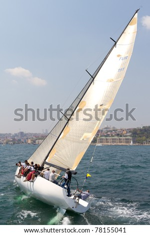 ISTANBUL - MAY 14: Korza, Prototype competes in the W Collection Sailing Cup Bosphorus 2011 boat race on May 14, 2011 in Istanbul, Turkey. - stock photo