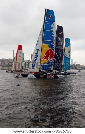 ISTANBUL - MAY 28: Participants compete in the Extreme Sailing Series boat race on May 28, 2011 in Istanbul, Turkey.