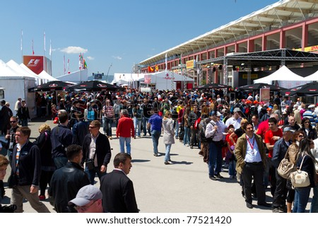 ISTANBUL - MAY 07: People having fun before the 2011 F1 Turkish Grand Prix, Istanbul Park on May 07, 2011 Istanbul, Turkey - stock photo