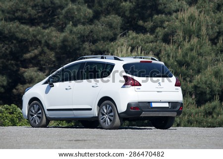 ISTANBUL - MAY: Peugeot 3008 compact SUV on May, 2015 Istanbul. Peugeot, the French car, bicycle and motorcycle brand, today is part of PSA Peugeot Citroen. - stock photo