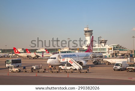ISTANBUL - May 4:  Planes preparing for take off at Terminal 2 of Ataturk Airport on May 4, 2015 in Istanbul, Turkey. Istanbul airport is home port for Turkish Airlines and one of the biggest hubs. - stock photo