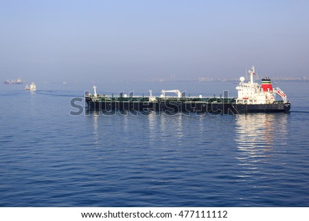 ISTANBUL - MAY 25: Unidentified Oil Tanker, sails in Bosporus Sea on May 25, 2014 in Istanbul. One of the word busiest port and passageway for shipping.