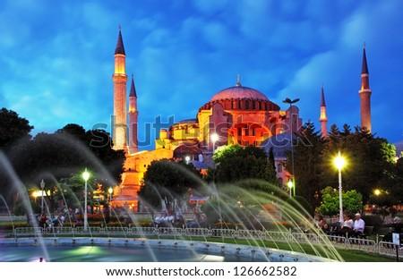 Istanbul mosque - Hagia Sophia at night - stock photo