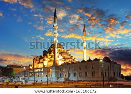 Istanbul mosque - Turkey, Yeni Cami - stock photo