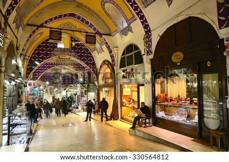 ISTANBUL - November 29: The Grand Bazaar in Istanbul, Turkey, one of the largest covered markets in the world, Istanbul, November 29, 2014 - stock photo