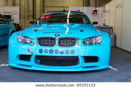 ISTANBUL - OCTOBER 30: Aytac Biter's BMW M3 GT during Turkey  Track Championship on October 30, 2011 in Istanbul, Turkey - stock photo