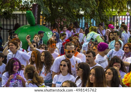 ISTANBUL- OCTOBER 9, 2016: Color Running Festival (Colorsky) from Bostanci, Istanbul, Turkey