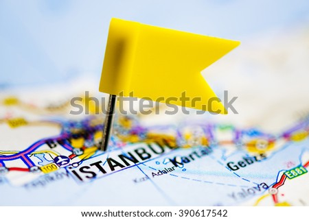 Istanbul on a map - stock photo