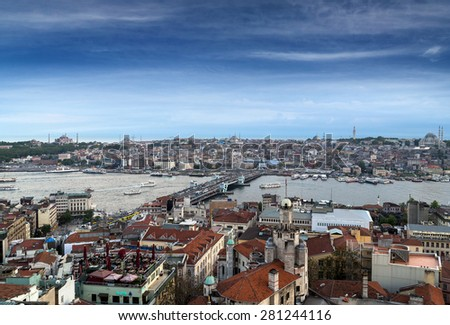 Istanbul rooftops and the Bosporus shoot from the Galata tower, cityscape, Turkey. - stock photo