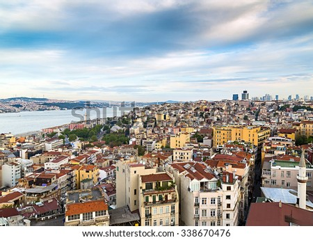 Istanbul rooftops and the Bosporus shoot from the Galata tower, cityscape Turkey.
