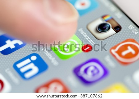 ISTANBUL - SEPTEMBER 18, 2015: Apple Iphone 6 screen with social media applications of Whatsapp, Facebook, Instagram, Viber, Linkedin, Tango, Perisfind and Snapchat. - stock photo