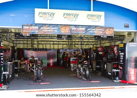 ISTANBUL - SEPTEMBER 14: Aprilia Racing Team garage during World Superbike Championship in Istanbul Park on September 14, 2013 in Istanbul, Turkey.