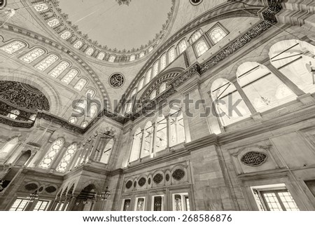 ISTANBUL - SEPTEMBER 20, 2014: Interior of Blue Mosque. The Mosque is the most visited landmark of Istanbul.