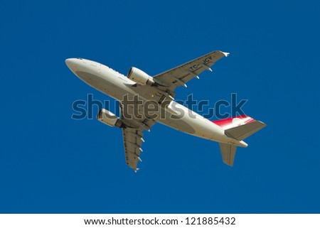 ISTANBUL - SEPTEMBER 08: Turkish Airlines Airbus A310 take off from Ataturk International Airport on September 08, 2012 in Istanbul, Turkey. Turkish Airlines is the national flag carrier of Turkey. - stock photo