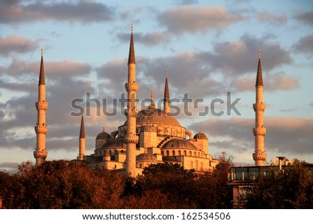 Istanbul sightseeing Blue Mosque, cloudscape - stock photo