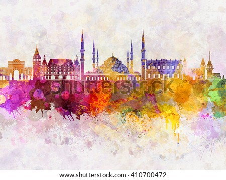 Istanbul skyline in watercolor background - stock photo