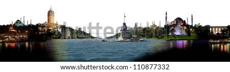Istanbul skyline, with all important buildings and attractions of the city - stock photo
