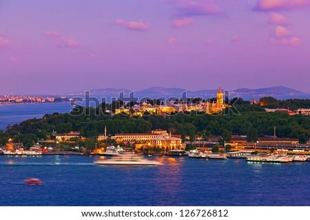 Istanbul sunset panorama - Turkey travel background - stock photo