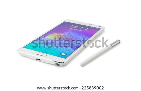 Istanbul, Turkei - October 25. 2014: Samsung Galaxy Note 4 isolated on white - stock photo
