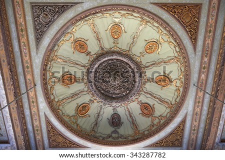 ISTANBUL, TURKEY, 01 APRIL 2015: A floral designs in the ceiling decorations in the Hall with a Fountain in Harem of Topkapi Palace, Istanbul, Turkey