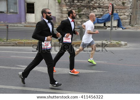 ISTANBUL, TURKEY - APRIL 24, 2016: Athletes are running in Old Town streets of Istanbul during Vodafone Istanbul Half Marathon