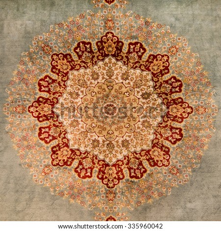 ISTANBUL, TURKEY - 29 APRIL, 2015: Beautiful orient carpet on Grand Bazar - stock photo