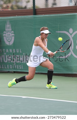 ISTANBUL, TURKEY - APRIL 23, 2015: Belgian player An-Sophie Mestach in action during R32 match against Bulgarian player Elitsa Kostova in 2015 Istanbul Lale Cup