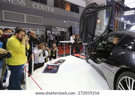 ISTANBUL, TURKEY - APRIL 05, 2015: BMW i8 in Fujifilm stand during 6. International Photo Digital Photography fair in Istanbul.
