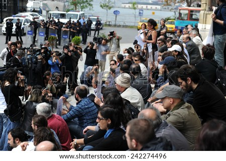 ISTANBUL,TURKEY-APRIL  24:Commemoration ceremony organized by The Say Stop to Racism and Nationalism initiative was held for the anniversary of the Armenian Genocide   April 24,2010 in Istanbul,Turkey