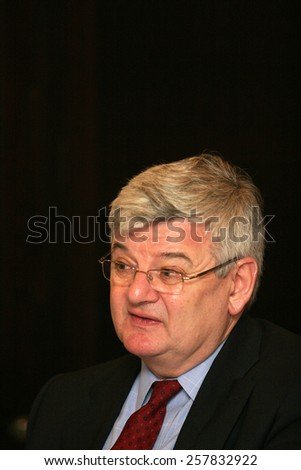 ISTANBUL, TURKEY - APRIL 11: Famous German politician Joschka Fischer portrait on April 11, 2008 in Istanbul, Turkey. He served as Foreign Minister and Vice Chancellor of Germany from 1998 to 2005. - stock photo