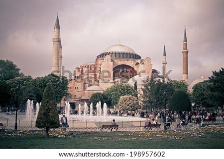 ISTANBUL, TURKEY - APRIL 25, 2014: Hagia Sophia (also called Hagia Sofia or Ayasofya) in Istanbul - stock photo