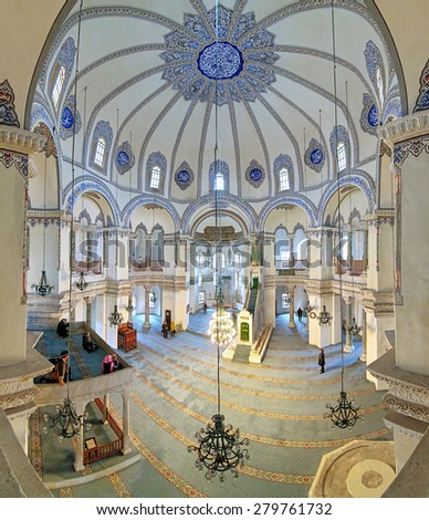 ISTANBUL, TURKEY - APRIL 4, 2011: Interior of the Little Hagia Sophia. It was built in 527-536 as Church of the Saints Sergius and Bacchus, and converted into a mosque between 1506 and 1513. - stock photo