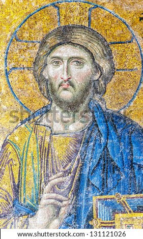 ISTANBUL, TURKEY - APRIL 10: Jesus Christ, a Byzantine mosaic in the interior of Hagia Sophia, on April 10, 2011 in Istanbul. - stock photo