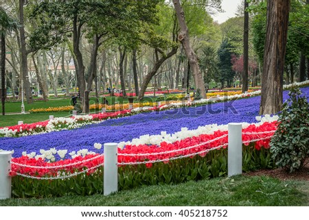 Istanbul, Turkey - April 08, 2016: Locals and tourists are enjoying the spring time in gulhane park. It is the oldest public park in istanbul - stock photo