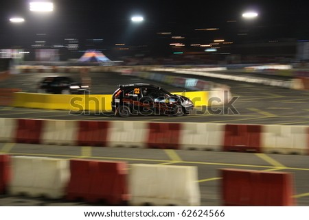 ISTANBUL, TURKEY - APRIL 16: Murat Cakal drives a  Ford Fiesta ST car during Rally of Turkey 2010 WRC championship, SS Stage on April 16, 2010 in Istanbul, Turkey - stock photo