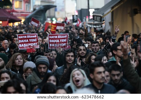 ISTANBUL, TURKEY, 18 APRIL 2017 People protest to referendum results during a rally in Istanbul.