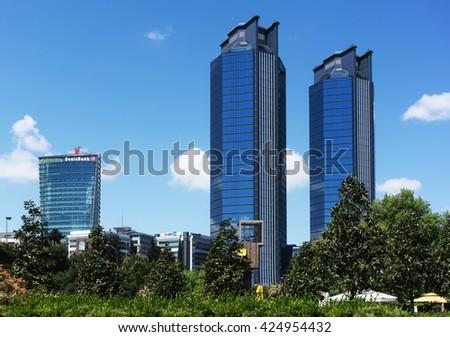 Istanbul, Turkey - April 25, 2016:Skyscrapers in Zincirlikuyu District ,Zincirlikuyu is a business area. - stock photo
