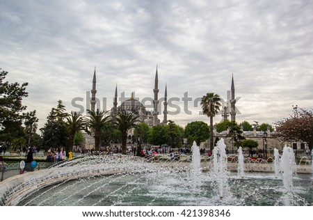 ISTANBUL, TURKEY - April 23, 2016; Sultan Ahmed Mosque (Blue Mosque) from Istanbul, Turkey