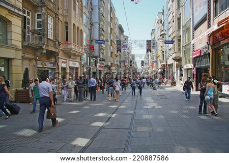 ISTANBUL, TURKEY - APRIL 29, 2013: Taksim Istiklal Street is a popular destination in Istanbul, visited by nearly 3 million people in a single day. - stock photo