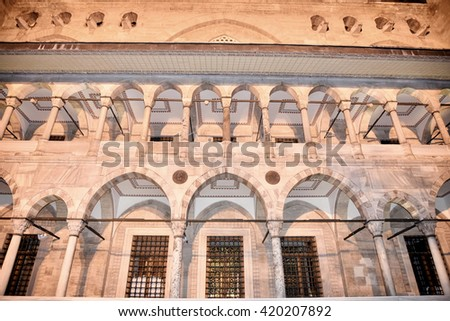 Istanbul, Turkey - April, 2016: View from Suleymaniye Mosque built by the legendary Ottoman Sultan Suleiman the Magnificent overlooking the Golden Horn.  - stock photo